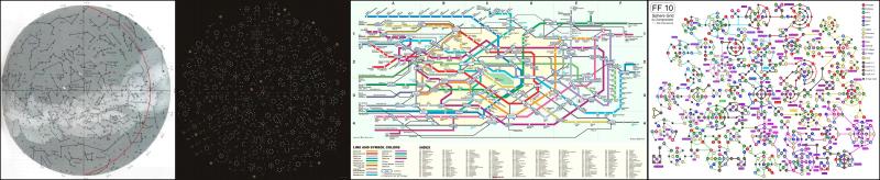 Карта созвездий, дерево умений PoE, карта токийского метро, «Sphere grid» из FFX.