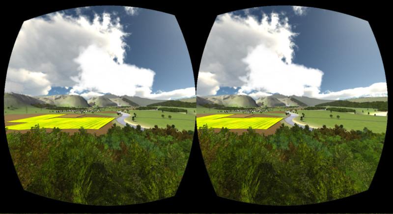 Стереоскопический вид на CoitTower, что в Сан-Франциско, на экране OculusRift. Девайс оснащён линзами, которые исправляют искажение, чтобы создать 3D-эффект.