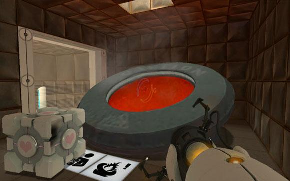 В этом эмоциональном моменте игрок должен бросить Куб-компаньон (внизу слева) в сжигатель. Таким образом он узнаёт о механике сжигателя, которая нужна для победы над ГЛэДОС.