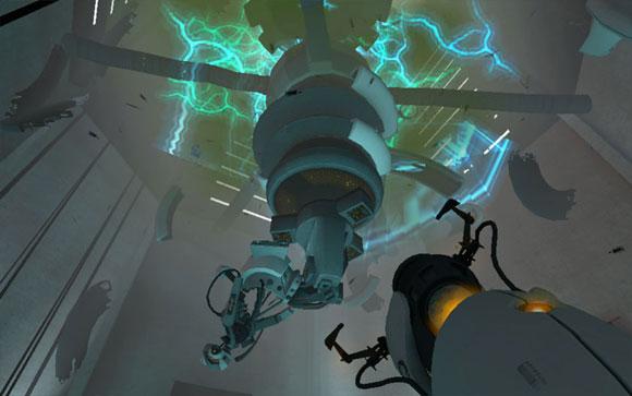 ГЛэДОС умирает в ослепительном фейерверке и вылетает через крышу. В последний момент она утягивает с собой игрока и экран заливается белым.