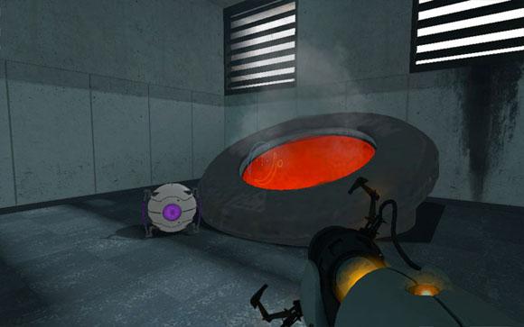 Игрок должен уничтожать личностные ядра ГЛэДОС (сиреневая сфера слева) в сжигателе… как было с Кубом-компаньоном. Кто бы что ни говорил, месть – это блюдо, которое подают горячим!