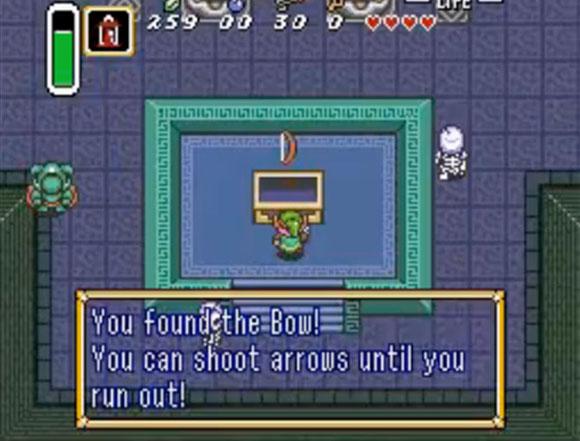 В играх Legend of Zelda игрок получает оружие где-то на уровне. Игрока учат с ним обращаться и часто требуют его применять, а в конце уровня босс проверяет навык владения этим оружием.