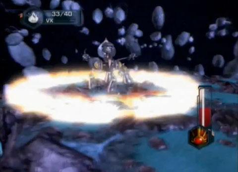 В битве с Императором Тахионом в Ratchet and Clank Future: Tools of Destruction тот подпрыгивает и приземляется с глухим стуком. От него расходится кольцо энергии. Таким образом дизайнер битвы придумал оформить наземную кольцевую атаку из нашего примера.