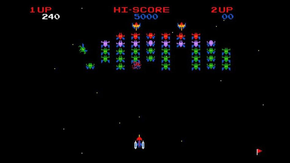 Клон классической аркады Galaxian на загрузочном экране Ridge Racer (PS1).
