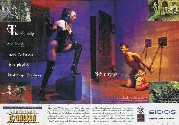 А вот так игру рекламировали, и называлась она Ian Livingstone's Deathtrap Dungeon, то есть автор вроде как был не против сексуального подтекста.