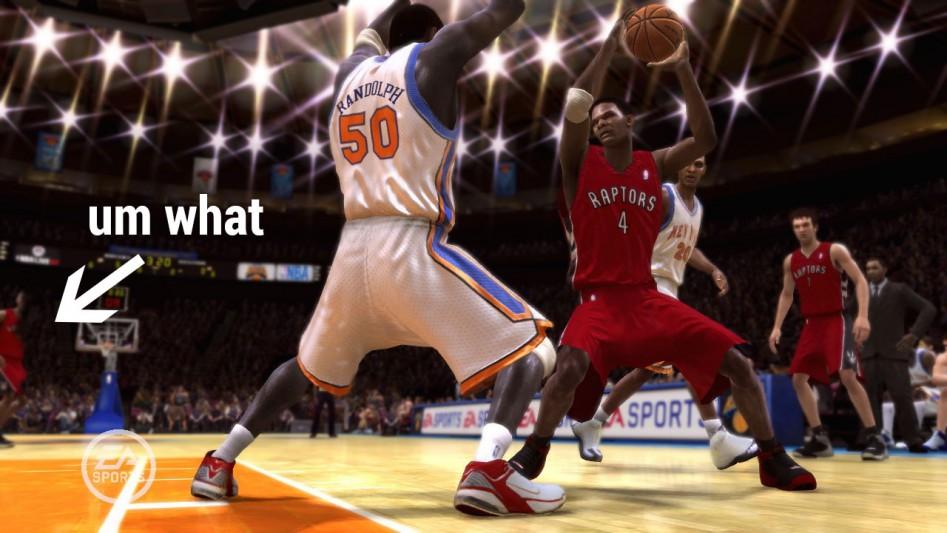 Этот скриншот из NBA Live 08 – один из самых фееричных буллшотов всех времён, с полуобработанным игроком, незаметно прошедшим весь путь от компьютера художника до пресс-релиза игры.