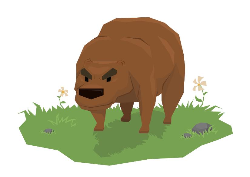 Поздняя, более мультяшная промо-версия медведя