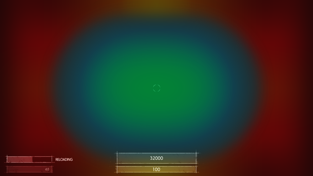 Рис. C2: Вид областей на экране, требующих разных значений амплитуды для смещения локуса внимания.