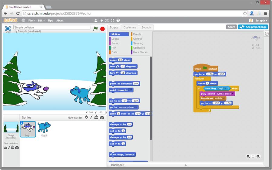 Scratch, запущенный в Chrome