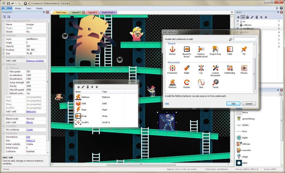 Construct – один из инструментов визуальной разработки игр