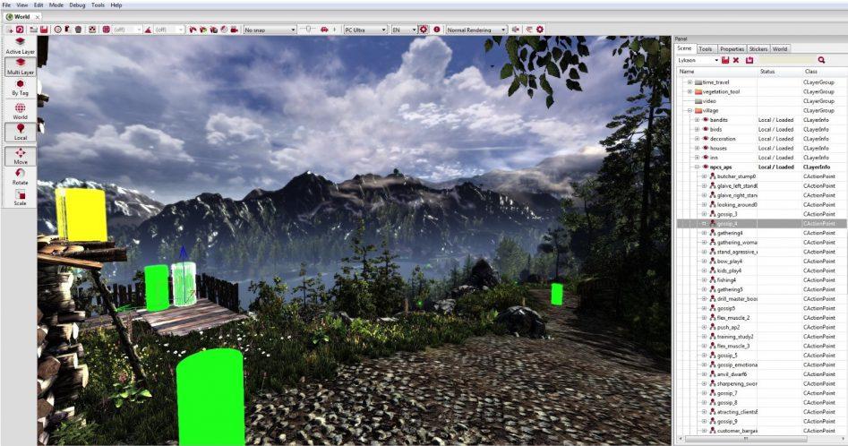 Распорядок дня NPC контролируется так называемыми очками действий (показано на примере Redkit для The Witcher 2).