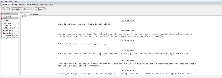 Инструмент диалогов в The Witcher 3 работает по аналогии с киносценарием; на изображении показан пример из редактора Redkit для The Witcher 2: Assassins of Kings.
