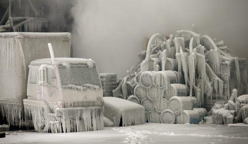 barrels freeze over in Chicago