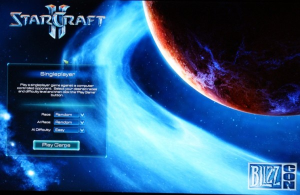 Starcraft 2 intro screen before playing